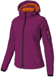 WOMAN SOFTSHELL JACKET ZIP HOOD BERRY-TANGERI