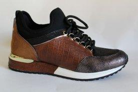 Damen Sneaker braun Glitzer