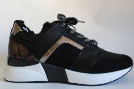 Damen Sneaker gefüttert schwarz gold