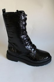 Damen Stiefel schwarz/croco Lack