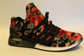La Strada Damen Sneaker Velevet Black/ Red Flower